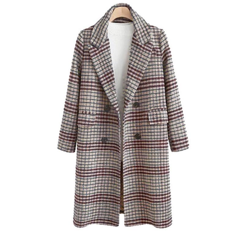 Пальто женское стильное осеннее, классическое, серое в клетку
