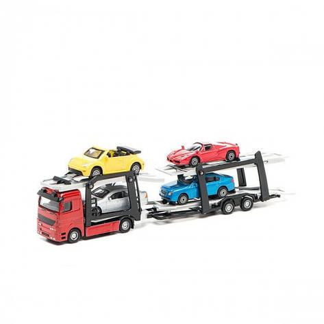 """Ігровий набір - АВТОПЕРЕВІЗНИК (автоперевізник, 4 легкові машинки) """"Technopark """", фото 2"""