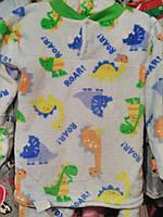 """Пижама  теплая """"Динозаврики"""" (реглан+штанишки)/махра для детей 2-8 лет/голубой"""