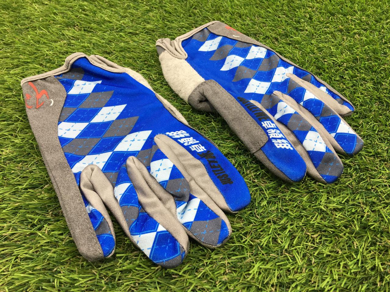 Велоперчатки с пальцами Ромб синие М
