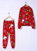 """Пижама  теплая """"Новогодняя"""" (реглан+штанишки)/махра для детей 2-10 лет/унисекс"""
