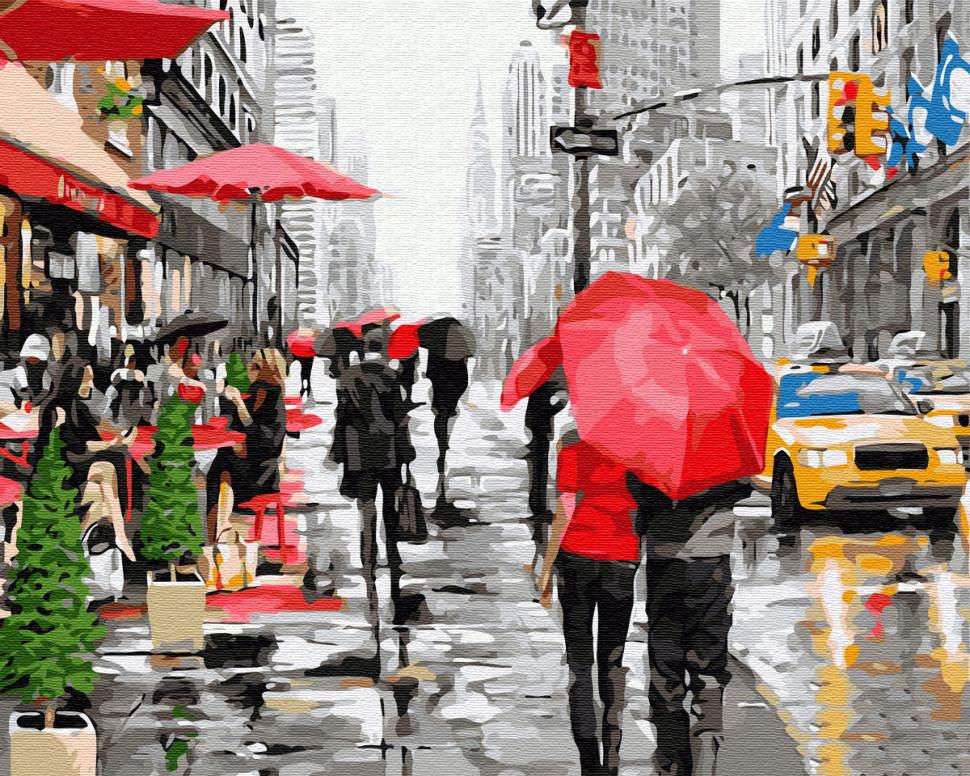 "Картина по номерам. Brushme ""Дождь в Нью-Йорке"" GX8091"