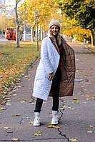 Женская длинная двухсторонняя теплая зимняя куртка в разных расцветках, фото 1