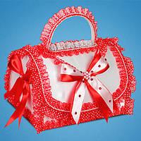Свадебный сундучок для денег в красных тонах с ручкой
