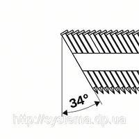 Гвозди с D-образной головкой в обойме под углом 34°, покрыты смолой, рифл.