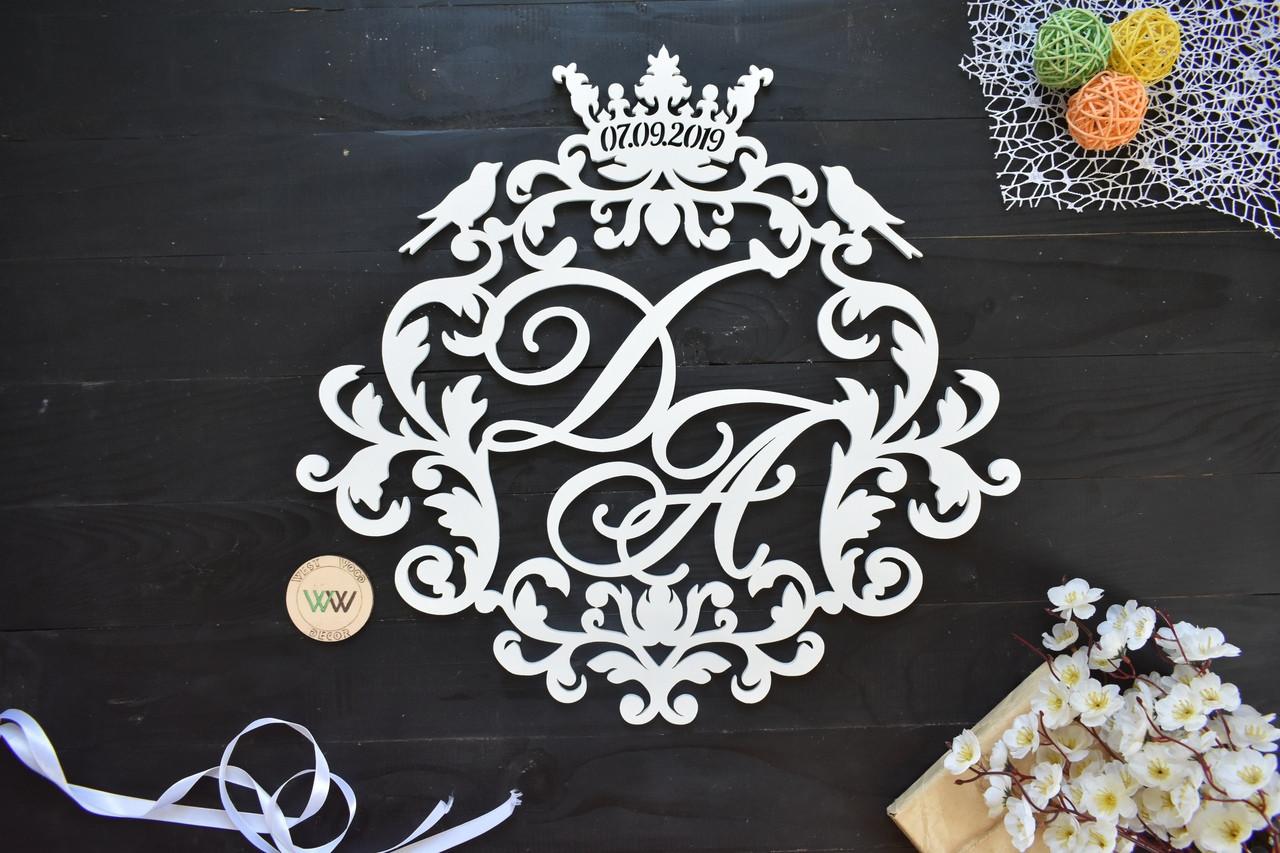 Свадебный герб, монограмма с инициалами, инициалы с датой, объемные буквы на свадьбу, семейный герб с короной