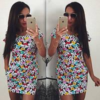 27ca1b0b743 Платье короткое летнее с Микки Маусами. Арт - 367 10 Купить женские платья  от