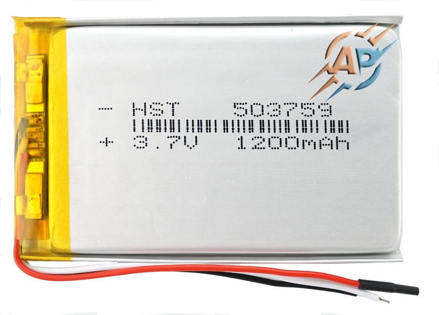 Аккумулятор литий-полимерный, 1200mAh, 3.7v, 503759, с выходом на 3 контакта