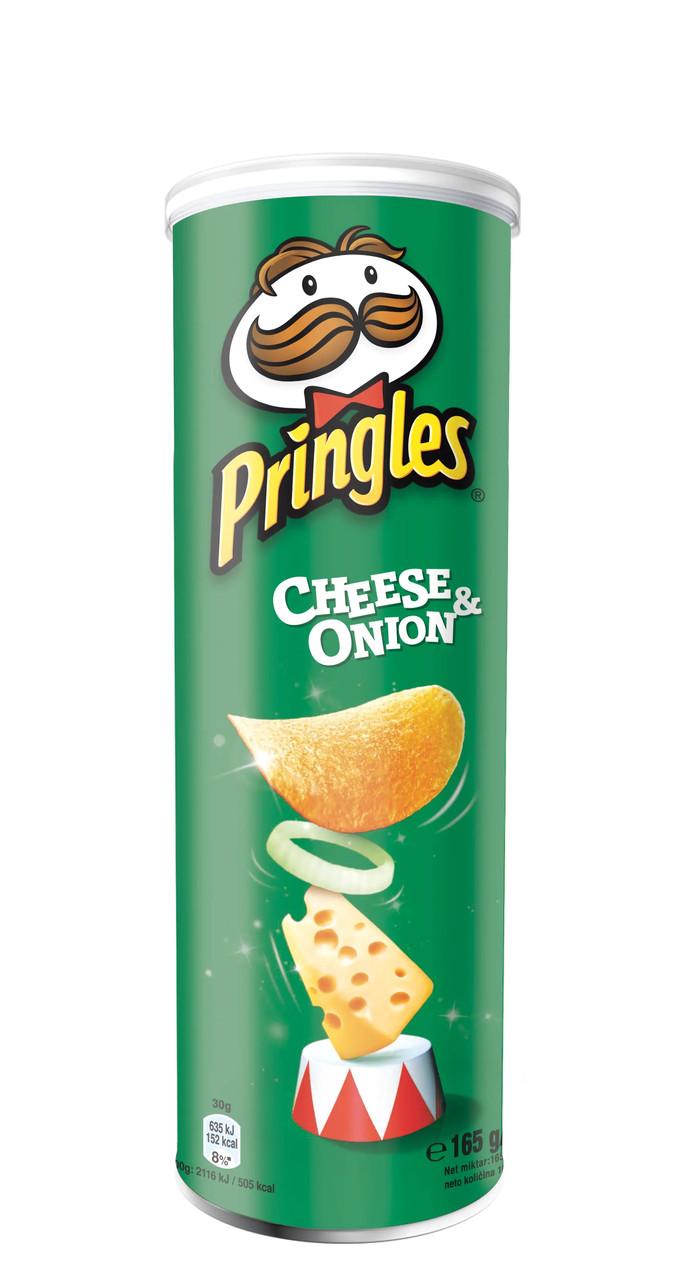 Чіпси Pringles Cheese and Onion, сир та цибуля, 165г, 19 шт/ящ