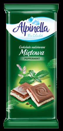 Шоколад Alpinella  з м'ятною начинкою, 100г,22шт/ящ