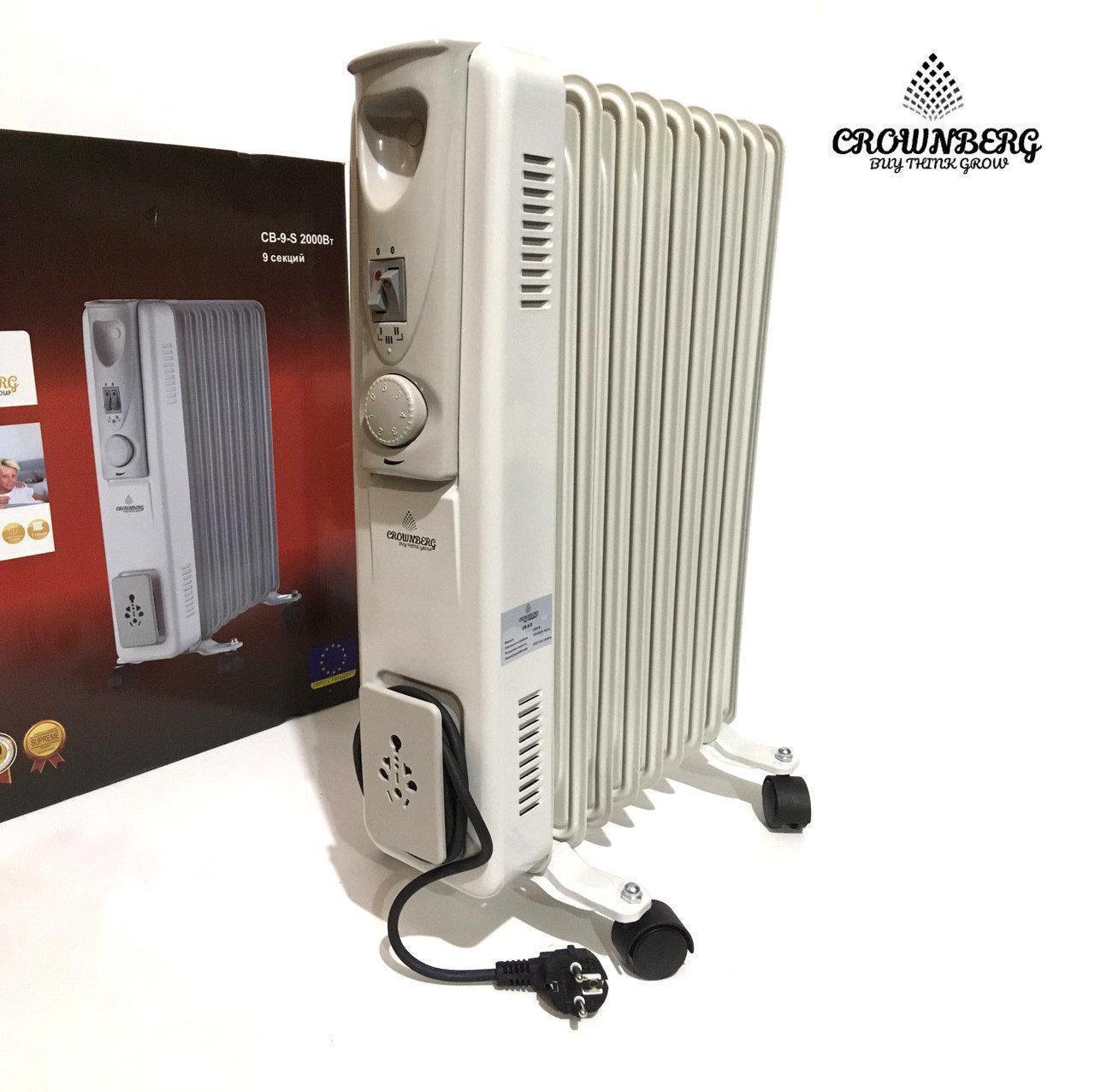 Масляный радиатор Heater CB 9 S Crownberg 2000W масляный обогреватель на 9 секций 2000Вт с терморегулятором