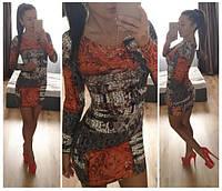 Платье короткое с узором. Арт - 373/10 Купить женские платья от производителя