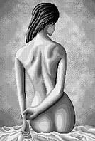 """Схема для вышивки бисером на габардине """"Девушка (Монохром)"""""""