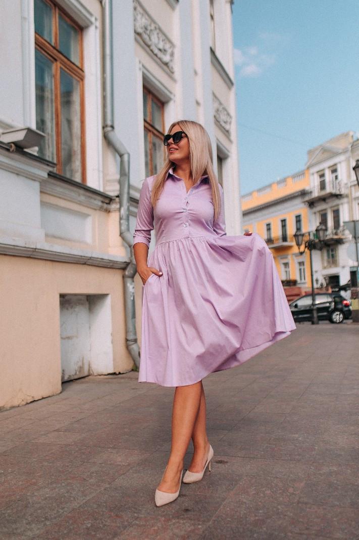 Приталенное женское платье-рубашка с карманами 48-50, 52-54