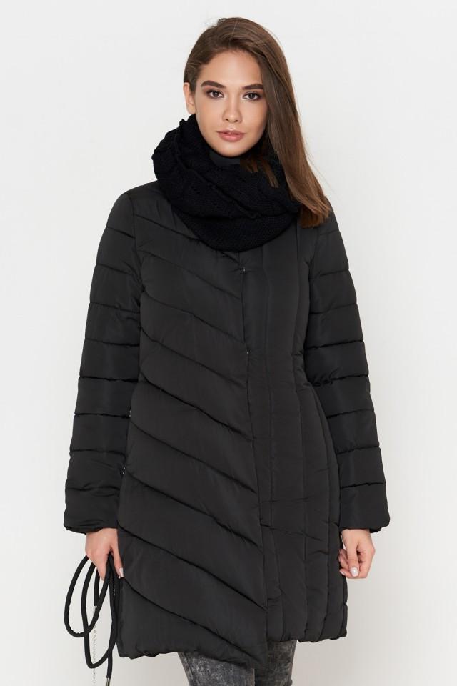 Женская куртка Braggart Tiger Force зимняя с воротником стойкой ассиметричного кроя черная размер 44 46 48 50