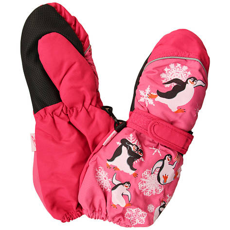 Дитячі зимові термокраги рукавиці для дівчинки 4-6 років малинові, фото 2