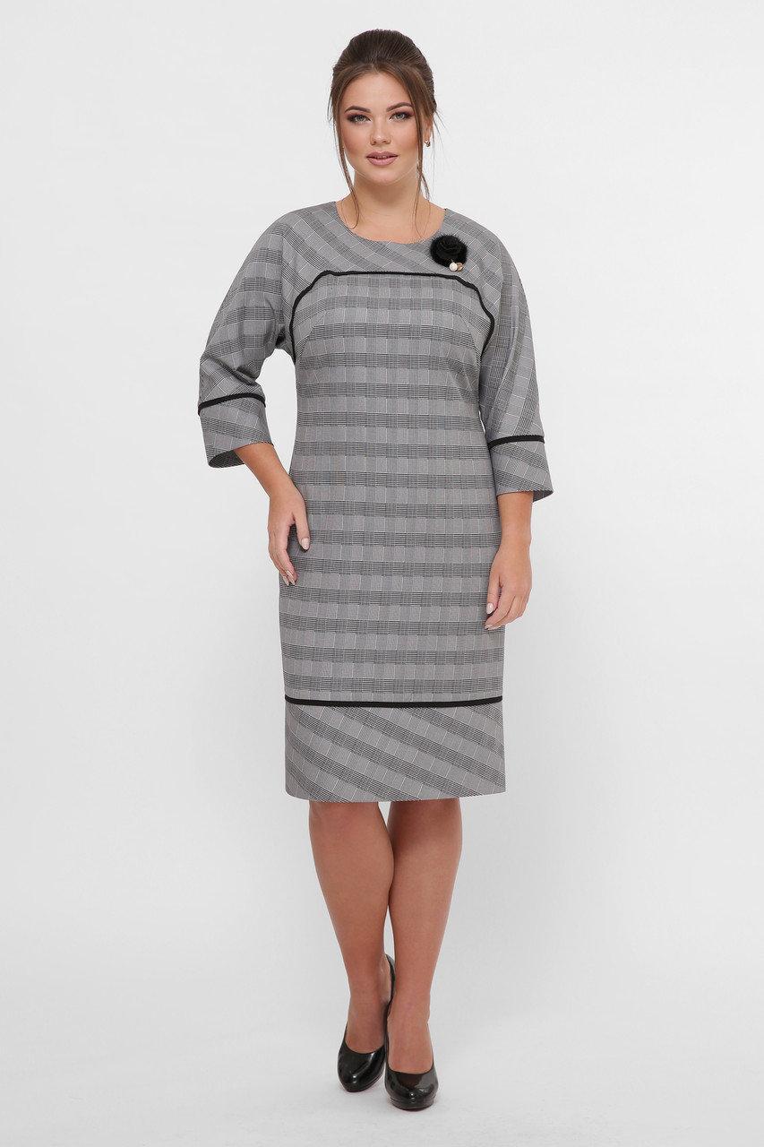 Красивое платье Кантата  серое (52-60)