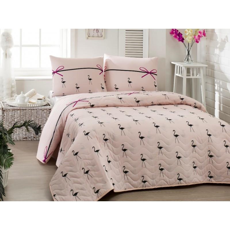 Покрывало стеганное с наволочками Eponj Home - Flamingo pudra пудра 200*220