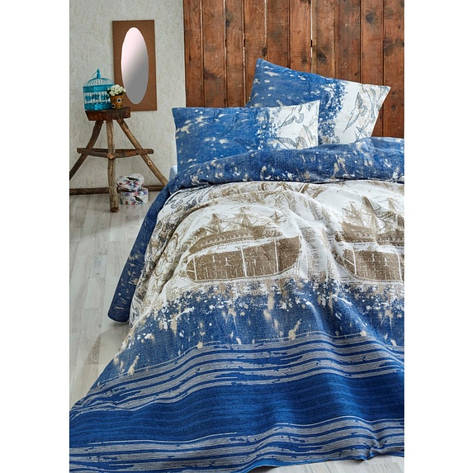 Покрывало пике Eponj Home - Pusula k.mavi голубой вафельное 200*235 , фото 2