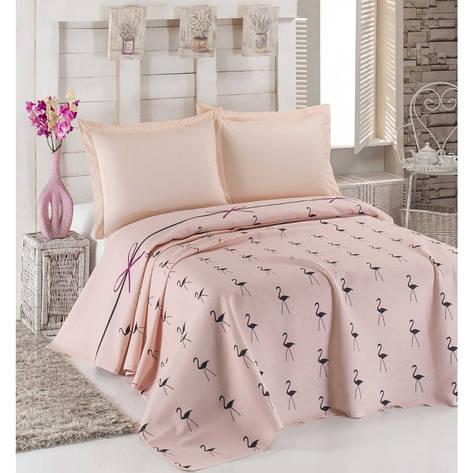 Покрывало пике Eponj Home - Flamingo pudra пудра вафельное 160*235 , фото 2