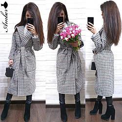 Модное длинное женское кашемировое пальто с карманами в клетку