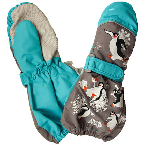 Дитячі зимові термокраги рукавиці для дівчинки і хлопчика від 2-х до 6-ти років сірі, фото 2