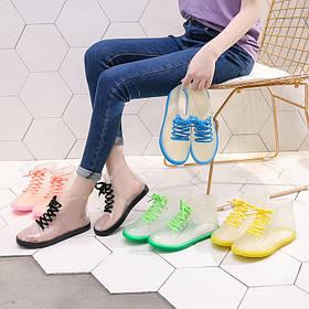 Стильные прозрачные резиновые ботинки