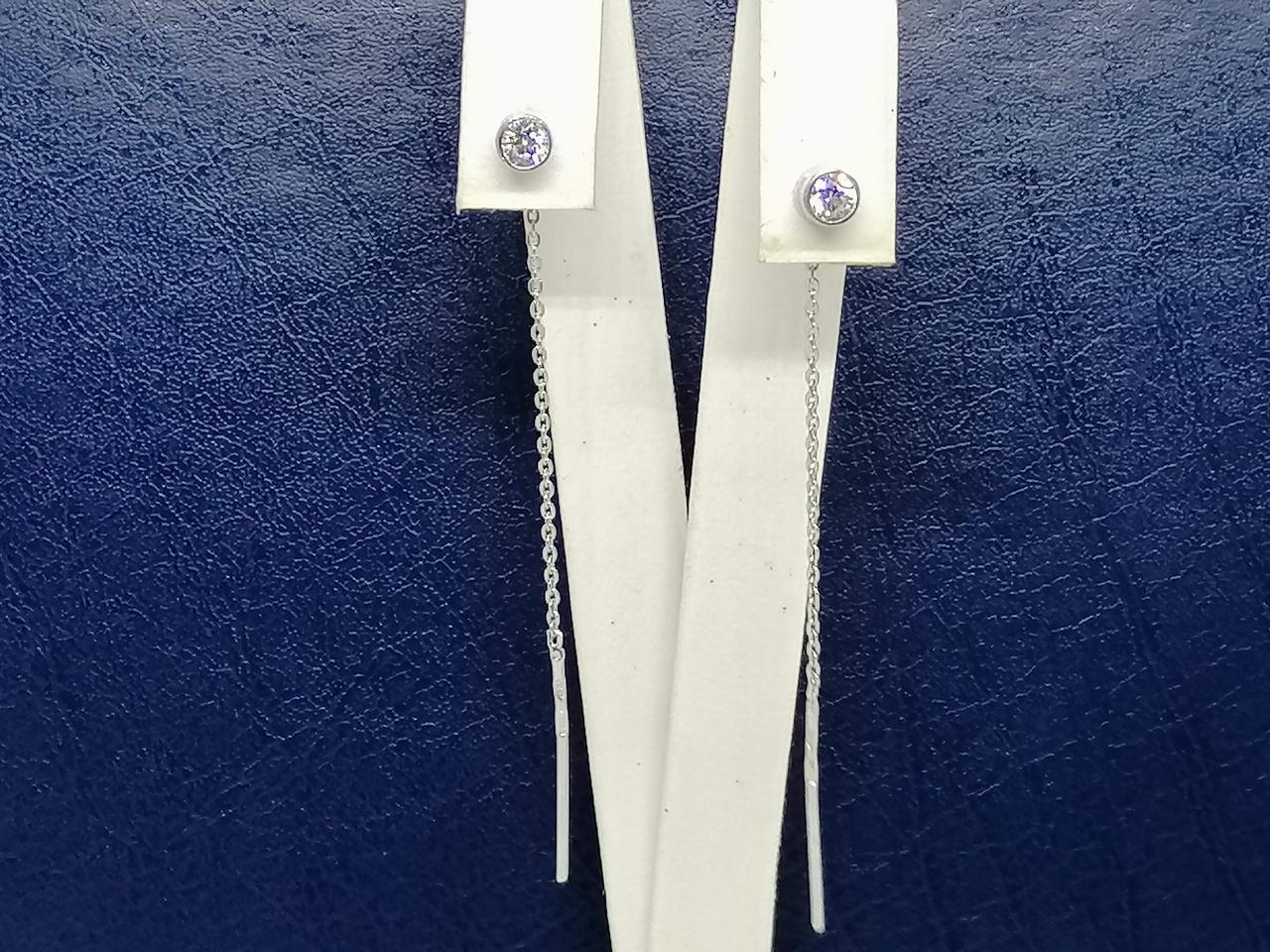 Серебряные серьги-протяжки с фианитами. Артикул 420215С