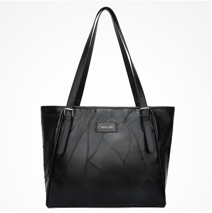 Женская черная сумка с длинными ручками