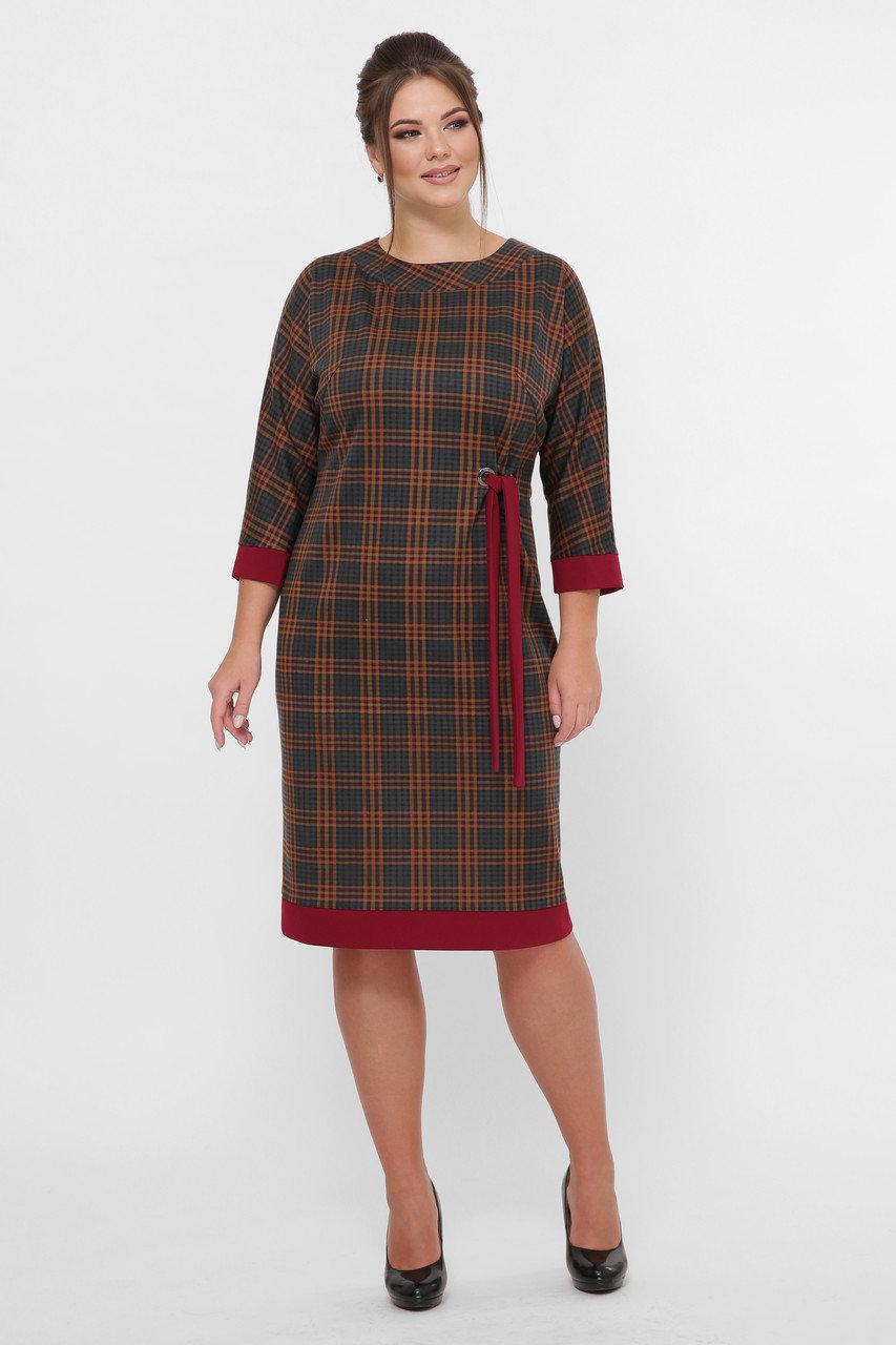 Красивое  платье Амалия бордо клетка (52-58)