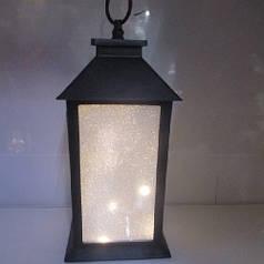 Новогодняя декоративная лампа-фонарь светильник с подсветкой HLV R28326 13x13x28 см