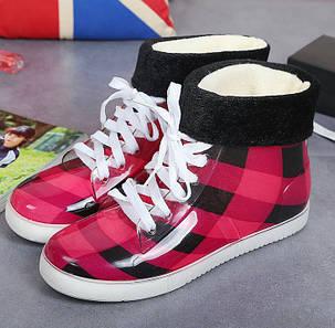Стильные  резиновые ботинки в клетку осень-зима, фото 2
