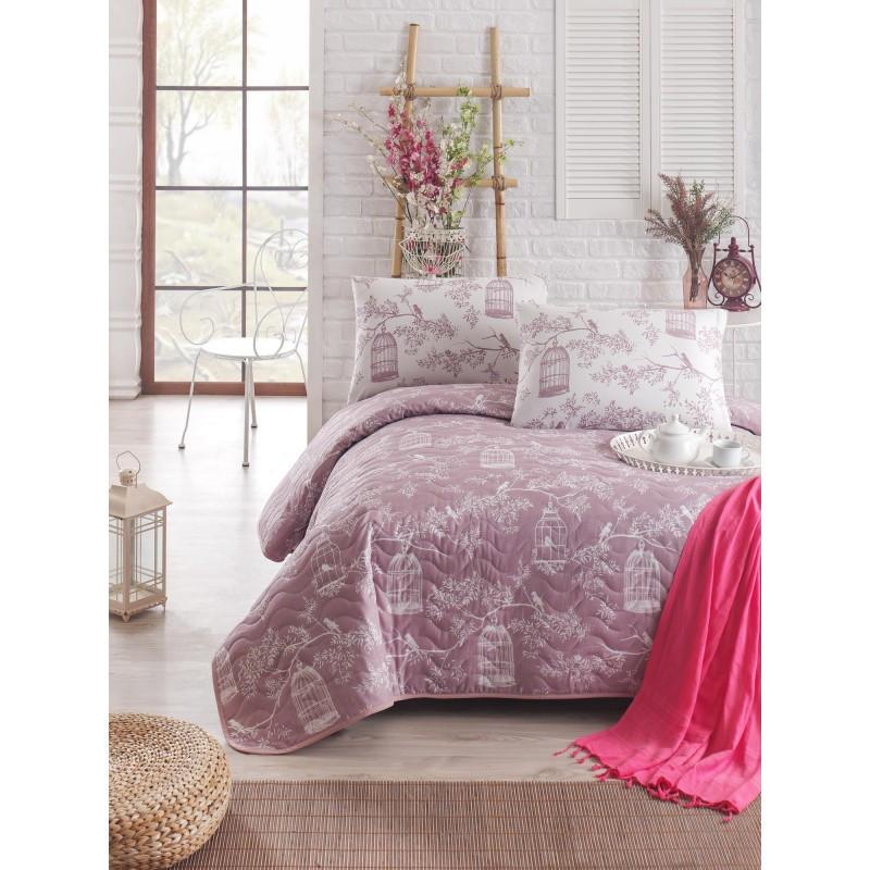 Покрывало стеганное с наволочками Eponj Home - Samyeli lila лиловый 200*220