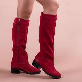 Модные замшевые сапоги с оригинальным каблуком размеры 36-41