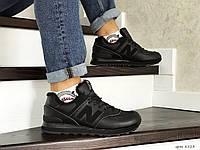 Мужские кроссовки New Balance 574, зима, с мехом, черные