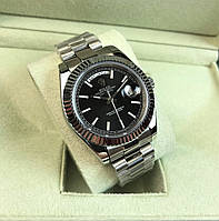 Годинник Rolex Day-Date 40mm Silver/Black (ETA 2834). Replica: AAA., фото 1