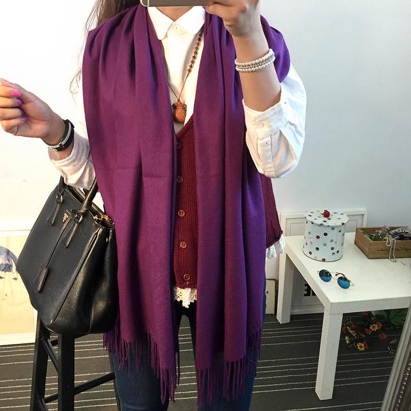 Женский шарф палантин длинный кашемировый, фиолетовый