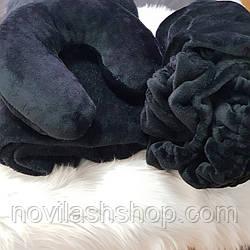 Набор 3в1(Чехол,плед,подушка) на косметологическую кушетку, цвет: черный