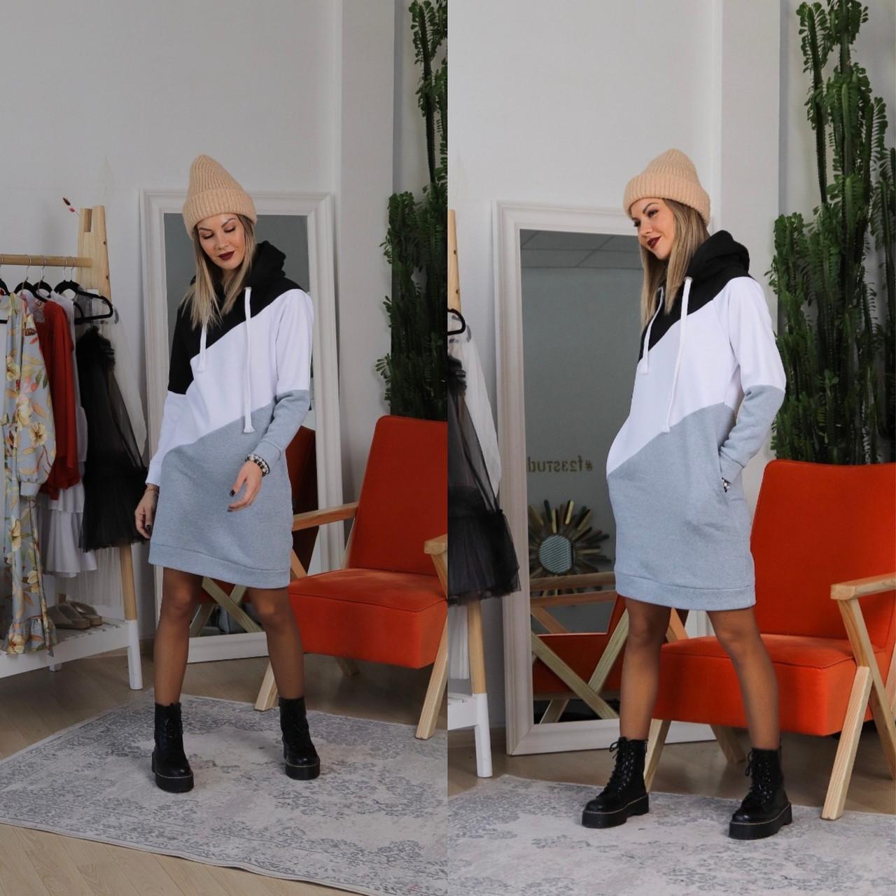 Теплое 3-х цветное платье-худи с капюшоном