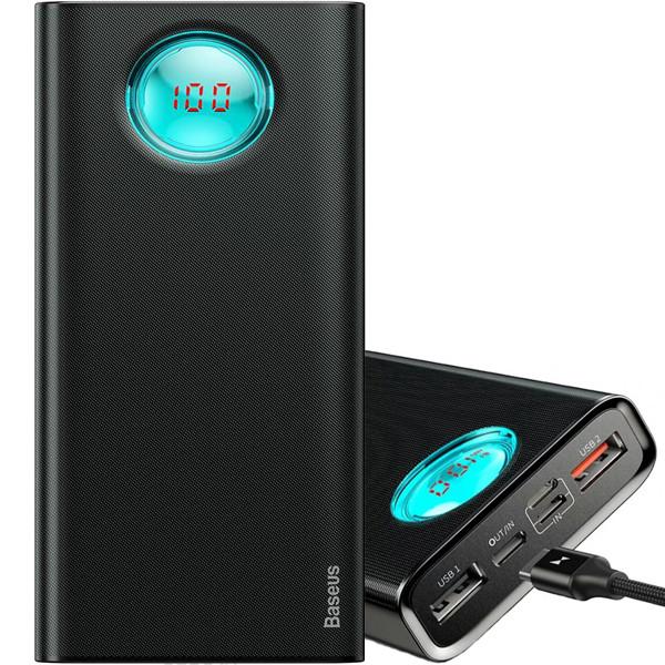 УМБ Повербанк 20000mAh с Дисплеем Baseus (PPALL-LG01) QC3.0 Черный