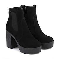 VM-Villomi Замшевые ботинки на каблуке черного цвета