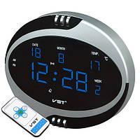 Часы сетевые 770 Т-5 синие, 220V, пульт Д/У