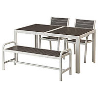 IKEA SJALLAND Садовый стол с 2 стулами и скамейкой, темно-серый (992.523.72)
