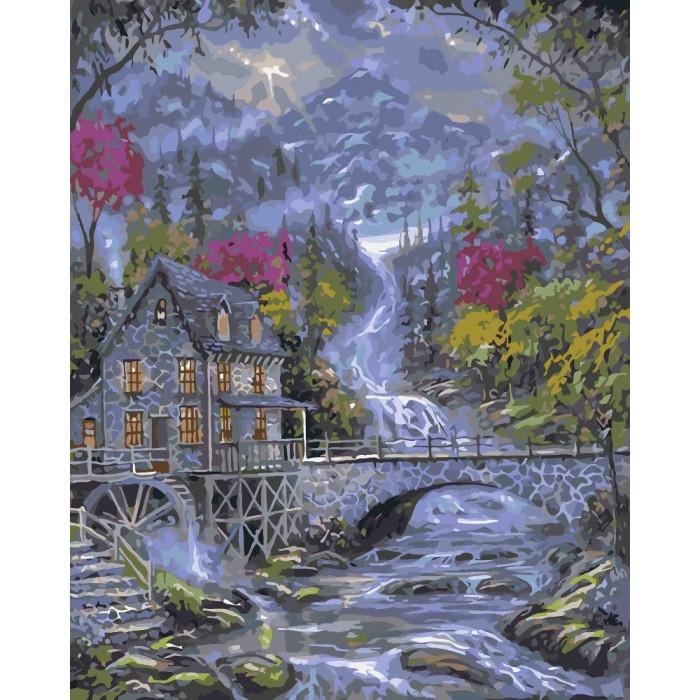 """Картина по номерам. Городской пейзаж """"Волшебный ручей"""" 40*50см * KHO2246"""