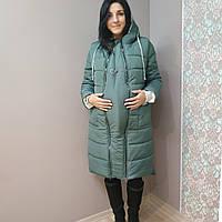 Зимнее пальто для беременных оливка, фото 1