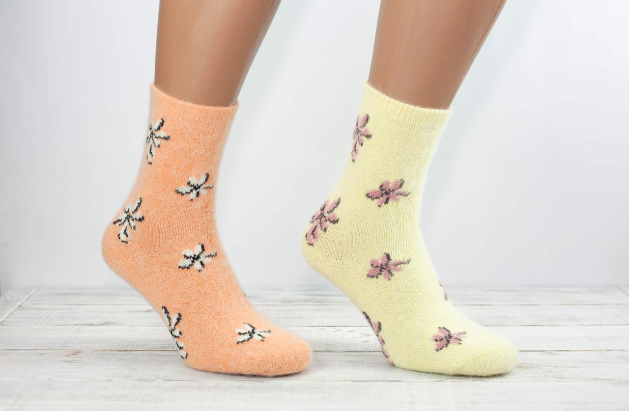 Жіночі носки з ангори шкарпетки теплі Finox з малюнком квіточки 36-40 мікс кольорів