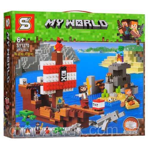 """Конструктор SY1270(Аналог Lego Minecraft 21152) """"Приключения на пиратском корабле""""417 деталей"""