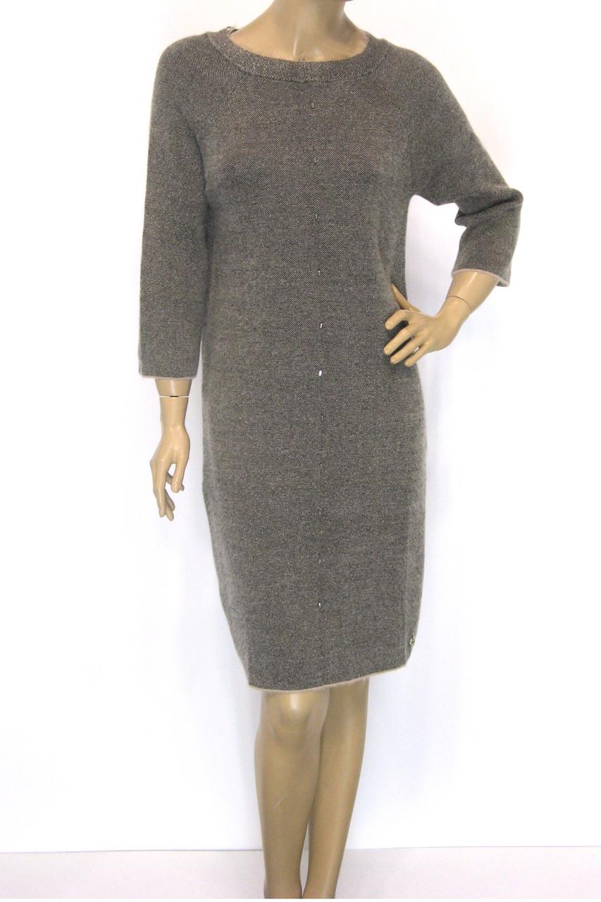 Тепле бежеве плаття з люрексом