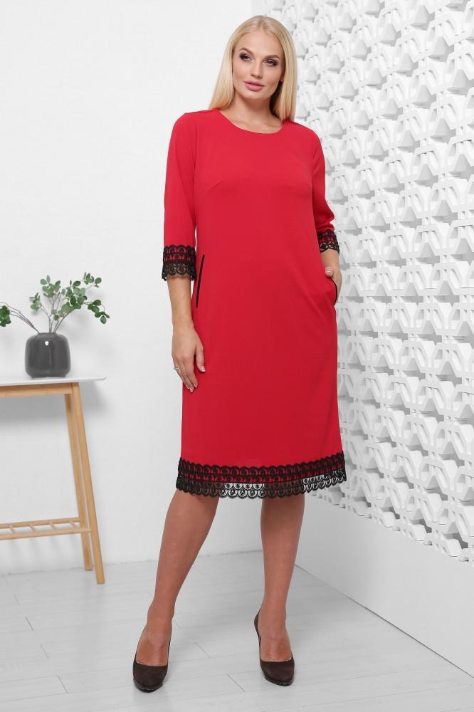 / Размер 50,52,54,56,58,60,62 / Женское платье больших размеров Лора / цвет красный