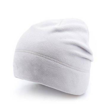 Шапка белая для сублимации флис утепленная двойная
